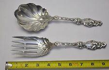 """Antique Ornate Sterling Silver Spoon & Fork Salad Serving Set 9"""" Long 254 Grams"""