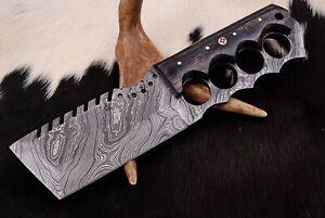 Custom Hand  FORGED DAMASCUS STEEL Hunting Tracker Knife FullTang+Leather Sheath