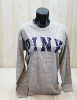 Victoria's Secret PINK BLING Campus Tee Small Gray Purple Long Sleeve Shirt VS