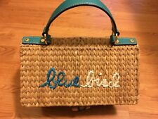 New listing Kate Spade Ny Blue Bird straw/wicker birdhouse Maya Bag Hard To Find