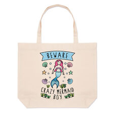 Beware Crazy Mermaid Boy Large Beach Tote Bag - Funny