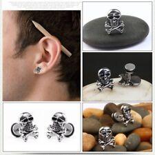 Retro Skull Head Ear Piercing Studs Earrings Titanium Steel Ear Ring Ghost Studs
