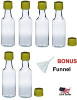 Mini empty plastic alcohol liquor bottles shots 50ml gold caps funnel