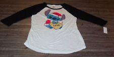 Women's TEEN Walt Disney LILO & STITCH CHRISTMAS Long Sleeve T-Shirt MEDIUM NEW