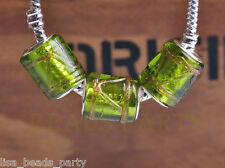 New 10pcs 14mm Lampwork Glass Cylinder Loose Big Hole European Beads Olive Green