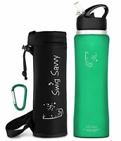 Swig Savvy 32 Oz AquaFresh Stainless Steel Insulated Water Bottle Flip Straw Cap