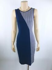 METALICUS Navy Blue & White Sleeveless Dress One Size Stretch