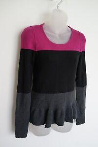 sonia rykiel purple/black/grey merino wool jumper…size womens large…vgc...
