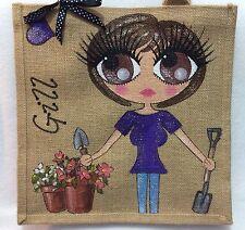 Personalised Handpainted Jute Gardeners Celebrity Bag & Terracotta Flower Pots