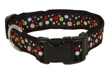 Douglas Paquette BUBBLES BLACK Nylon & Ribbon Adjustable Dog Collar, Harness