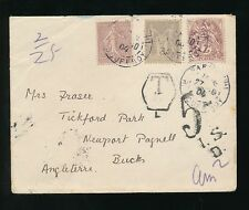 FRANCE 1904 FRANKING SOWER BLANC ALLEGORY + POSTAGE DUE 5d in GB NEWPORT PAGNELL