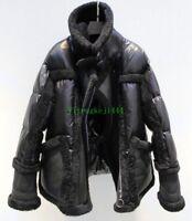 Womens 100% Real shearling Lamb Fur Coat Duck Down Jacket Winter Outwear Parka Y