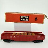 LIONEL Postwar 6462-125 NYC New York Central Gondola Car w/ 6 Barrels, O Scale