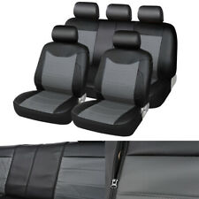 PU Leather Car Seat Covers+Headrest Covers Front & Rear Full Set 4-Seasons Use