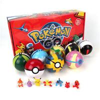8Pcs Pokeball & 8Pcs Action Figures 2.8'' Pokeball Pokemon Christmas Toys Gift