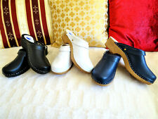 Navy Black White Men's UNI CLOGS shoes wooden clogs Leather Swedish style 7.5-13