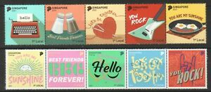 SINGAPORE 2021 GREETINGS 2 X SE-TENANT COMP. SET OF 10 STAMPS IN MINT MNH UNUSED
