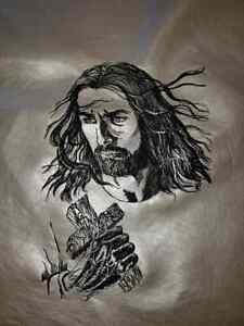 Jesus and Cross Embroidered on vinyl  10in by 8in