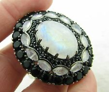 NEW Yours by Loren Sterling Silver 16.53ct Moonstone Onyx White Topaz Ring Sz 12