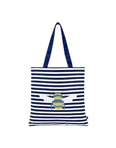 Joules NEW Lulu Shopper cream navy bee stripe canvas tote fashion shoulder bag