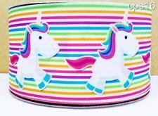 "Satin Unicorn Rainbow Ribbon 1 Metre  22mm 7/8""  Wide Craft Cake Decorating"