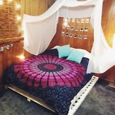 Indian Pink Peacock Mandala Duvet Quilt Cover Bedding Ethnic Boho Blanket Set