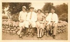 Antique Vintage Photograph People Sitting On Beautiful Stone Wall