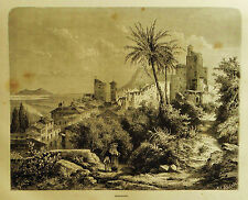 1877:ROMA.TERRACINA, VEDUTA PANORAMICA.Xilo o in Passepartout.ETNA.