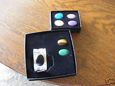 NIB STERLING SILVER  ADJUSTABLE CUFF BRACELET WITH 7 CHANGABLE STONES!!!!!