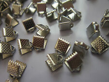 100 Ribbon Ends Necklace making Findings  Platinum Color 8 mm
