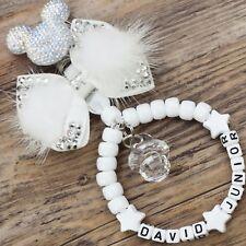 Personalised stunning pram charm in  white baby girls boys unisex