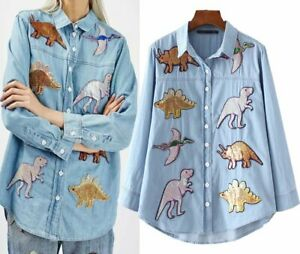 Sequins Dinosaur Denim Shirt Dino Shirt RRP £35
