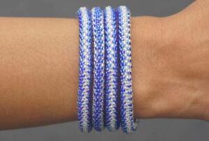 "Sashka Co regular 6-8"" BLUE MOON Glass Beaded BRACELET mixed Nepal Fair Trade"
