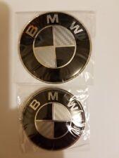 BMW 82mm/73mm Black/ Silver Carbon Fiber Emblems Hood/Trunk Badge 2Pcs SET