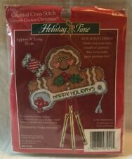 VTG  NIP Holiday Time Wind Chimes Counted Cross Stitch 'Ginger Cookie Christmas'