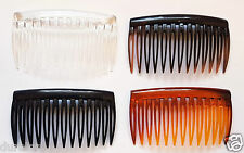 Pack of 6 Plain Hair Combs Slides Side Combs 7cm Black TT Shell Clear or Havanna