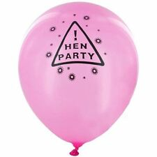 12 x Hen Night Warning Sign Party Balloons Latex Pink Hen Party Decorations
