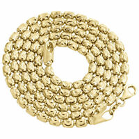 Solid 10K Yellow Gold Diamond Cut Barrel Chain 3MM Necklace Oval Bead 22-30 Inch