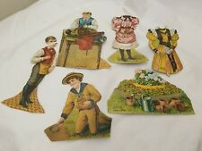 1890's Antique Lion Coffee Cut-Out Victorian Paper Dolls , as found