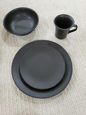 Dinnerware Set 16 pieces-Matte Black, 4 each of: Dinner Plates, Salad, Soup, Mug