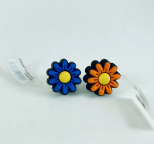 CROCS Pair of Flowers | ORANGE and BLUE | Jibbitz Shoe Charms 100% Authentic New