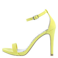 Brash Kailey Sexy Yellow Open Toe Heels Adjustable Ankle Strap Pump Wide 6,5 8,5