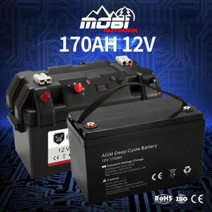 MOBI 12V 170AH AGM Battery Camping Marine 4WD Deep Cycle & W/ Strap Battery Box