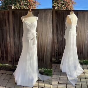 Vera Wang Vintage Inspired MOD Wedding Dresses Vw351003 Size 10 Flow Soft White