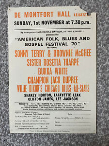 Vintage 1970s American Folk, Blues and Gospel Festival 70 handbill - Leicester