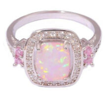 Grace 925 Sterling Silver Fire Opal Pink Gemstone Rings Marriage Jewelry Gifts