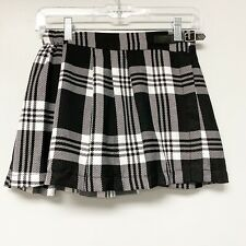 Justice Girls Size 12 NWT plaid Skirt Black White