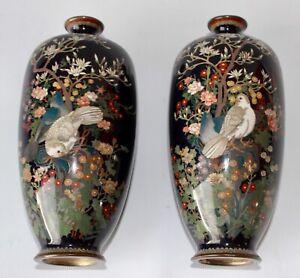 Japanese cloisonne Meiji period 1868-1912 vases 2 vase antique 1900 birds decor