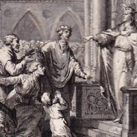 Gravure XVIIIe  Dagobert Francs Autorité Royale Mérovingiens Siège Langres Dijon