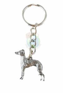 Italian Greyhound Keychain Pewter